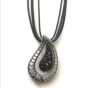 Black and Silver Pendant Necklace-Lia Sophia